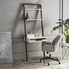 Ladder Shelf Storage Leaning Wall Desk - White Lacquer/Dark Mindi at West Elm - Office Furniture - Desk Ladder Shelf Desk, Narrow Shelves, Desk Shelves, Storage Shelves, Bookshelves, Bookcase Desk, West Elm, Space Saving Desk, Small Spaces