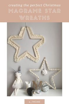 Macrame Christmas Star Wreath : Free Macrame Christmas Wreath tutorial idea to decorate your home this Christmas. Learn how to make these simple and easy wreaths this festive season. Diy Christmas Star, Christmas Wreaths To Make, How To Make Wreaths, Holiday Wreaths, Christmas Lights, Christmas Decorations, Christmas Ideas, Xmas, Christmas Cookies