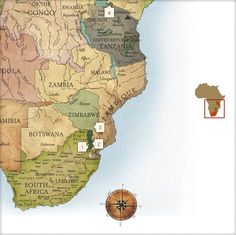 Map of Southern Africa showing 9 of our favorite Singita lodge locations