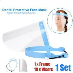 10 x Dental Protective Face Mask. Quantity: Comfortably worn anti-fog face shield with an elegant design. Adjustable head harness ensures comfortable fit for most head sizes. Smoke Mask, Dental, Facial, Tapas, Safety Mask, Head Mask, Full Face Mask, Face Masks, Protective Mask