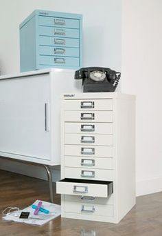 5 drawer filing cabinet (the blue one) £50 great for paper or envelopes etc. on top of table