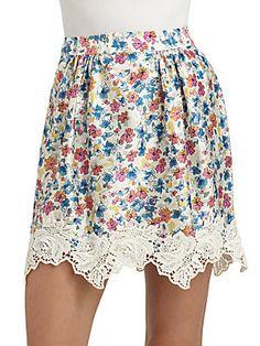 Dolce & Gabbana Silk Satin Floral Skirt