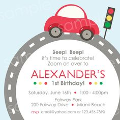 PRINTABLE Little Red Car Birthday Invitation by modpoddesigns, via Etsy.