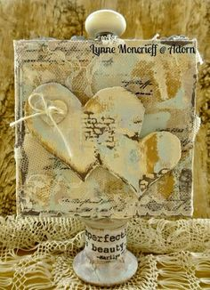 gorgeous mixed media canvas by lynne moncrieff http://blog.paperartsy.co.uk/2014/10/vintage-assemblage-with-eclectica-sara.html