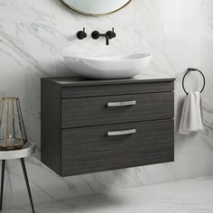 Gallery item 1 - Drench Emily Wall Mounted 2 Drawer Vanity Unit and Countertop - Hacienda Black Basin Vanity Unit, Basin Unit, Basin Mixer Taps, Vanity Units, Wall Mounted Basins, Shower Fittings, Black Taps, Hudson Reed, Wall Mounted Vanity