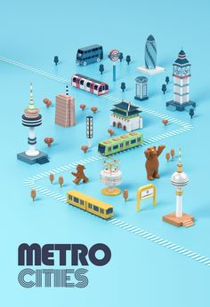 Metropolen in Bewegung – City Illustration Isometric Art, Isometric Design, 3d Mode, Modelos 3d, Map Design, Pattern Design, City Illustration, Cinema 4d, Motion Design