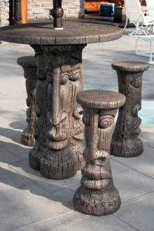 This Tiki table durable cast stone bar height and stool set for garden or home bar decor. Tiki Faces, Home Bar Decor, Concrete Garden, Concrete Bench, Cast Stone, Outdoor Living, Outdoor Decor, Garden Stones, Outdoor Areas