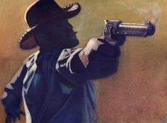 What a typical cowboy looked like, including a smoking pistol.