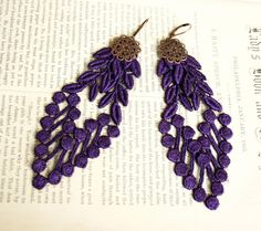 lace earrings VANESSA purple tinaevarenee on Etsy  #jewelry #lace #fashion #earrings