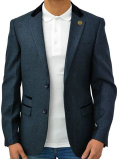 Designer Marc Darcy Men's Regular Fit Tweed Blazer Jacket Ronny Blue (18) at Amazon Men's Clothing store: