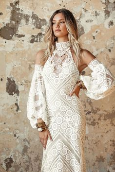 Lace Sleeves, Dresses With Sleeves, Bohemian Bride, Bridal Wedding Dresses, Lace Wedding, Dress Collection, Fit And Flare, Ball Gowns, Outfits