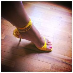 Mustard Yellow Strappy Sandal You can't go wrong with a mustard yellow strappy sandal! These are uber adorable -can be strapped up the leg or down low with a cute bow . These are well taken care of and still have tons of life left in them. 3 inch heel and are true to size. Pierre Dumas Shoes