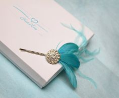 Love this for your something blue! Cute bridal hair accessory.