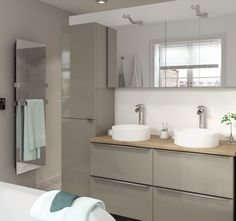 The Imandra bathroom collection from B&Q include this slick and modern taupe gloss vanity unit. The range is easy to clean and comes in a variety of shapes and sizes ready to customise to your space. To help you design your own dream bathroom our online Bathroom Planner has all the tools!