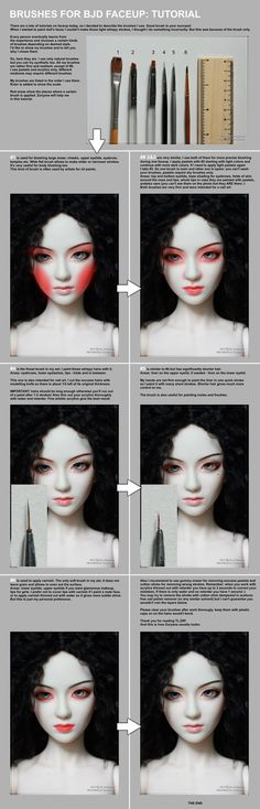 Suggested paint brushes for dolls, body blushing, and face ups covered in this tutorial by ©Scargeear . BJD faceup painting tutorial, information. Sculpting Tutorials, Doll Making Tutorials, Making Dolls, Doll Crafts, Diy Doll, Marionette, Doll Tutorial, Doll Repaint Tutorial, Pants Tutorial
