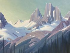 Ken Harrison - Snowpatch Peak the Bugaboos 36 x 48 Oil on canvas (2021) Bugaboo, Canadian Artists, Oil On Canvas, Mountains, Landscape, Gallery, Painting, Travel, Scenery