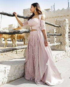 Lilac pink lehenga jacket adorn in cut dana and moti work only on Kalki Choli Designs, Lehenga Designs, Blouse Designs, Indian Attire, Indian Ethnic Wear, Indian Outfits, Indian Style, Indian Gowns Dresses, Pakistani Dresses