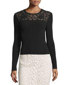 TCTCJ RED Valentino Long-Sleeve Ribbed-Knit Top w/ Floral Macrame Yoke, Black
