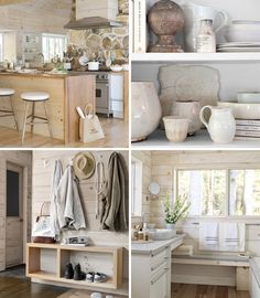 Bathroom bench and also dressed with ceramics and towels under window . Bathroom Bench, Ikea, Cottage Interiors, Modern Country, How To Make Bed, Beautiful Bathrooms, Rustic Chic, Scandinavian Design, Decoration