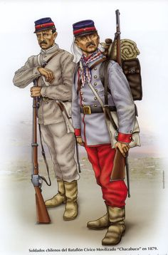"""Chilean Battalion Civico Movilizado """"Chacabuco"""" Military Art, Military History, Army Uniform, Military Uniforms, War Of The Pacific, Uniform Insignia, American War, World War One, Armed Forces"""