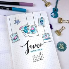 All set up in my bullet journal for June! I knew I wanted the theme to be related to summer. So, in the end I decided to go with a…