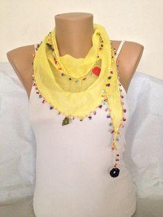 Yellow Scarf  Floral  Lace Scarf  Shawl  Crochet Scarf by MaxiJoy, $17.50