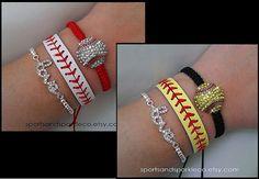 Sports Rhinestone Sparkly Baseball or Softball Woven Bracelet, Leather Bracelet and Rhinestone LOVE Stretch Bracelet Set on Etsy, $25.00