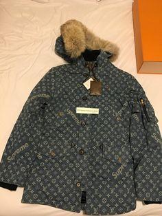 29af9f0beb00 Louis Vuitton x Supreme Monogram Washed Denim Parka Jacket. H I D D E N