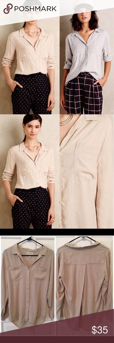 Anthropologie Estes button down in natural By cloth and stone. 100% rayon. Gently used, some light wash and wear as shown. 🙆🏻no trades or off site transactions. Since I have a variety of sizes I do not model🙅🏻Low ball offers will be denied.😁I have an illness that sometimes requires serious medical attention & 2 little ones 👶🏼👶🏻 so if I don't respond I'm either very ill that day 🚑 or have been kidnapped by my kids.Thank you for shopping my closet! 💋 Anthropologie Tops