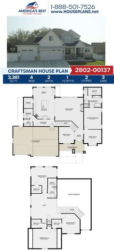 Exclusively to our website, Plan 2802-00137 gives you 3,381 sq. ft., 4 bedrooms, 2.5 bathrooms, a loft, a mud room, an office area, and a music room. Learn all about this Craftsman design on our website. Craftsman Style Homes, Craftsman House Plans, Best House Plans, Build Your Dream Home, Architectural Elements, Square Feet, Living Spaces, Floor Plans, House Design
