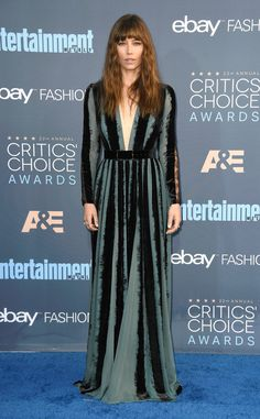 Jessica Biel from 22nd Critics' Choice Awards Red Carpet Arrivals  The actress was bangin' on the carpet, rocking her shaggy cut with a long sleeve green and black gown.