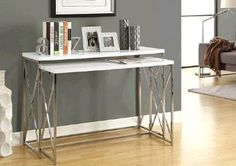 "10"" narrow Monarch Glossy White and Chrome 2 Piece Console Table Set: Home & Kitchen $300"