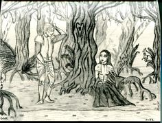 Fantasy and Mediaval Art - Pen Drawing - Illustration Mysterious Knights in the Forest