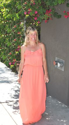 great almost neon coral maxi dress for summer! www.vocabularyboutique.com