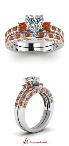 Block Design Set || Heart Shaped Diamond Wedding Sets With Orange Sapphire In 14K White Gold