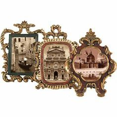 "Set of 3 antique-inspired metal picture frames with scrolling designs.      Product:  3-Piece frame setConstruction Material: MetalColor: MetallicFeatures: Antique-inspired designHolds (1) 4"" x 6"" photo each    Dimensions: 11"" H x 8"" W x 2"" D"