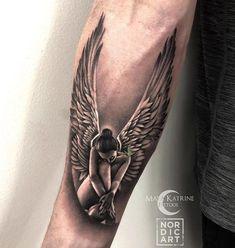 Little angel made today . Angel Sleeve Tattoo, Angel Tattoo For Women, Fallen Angel Tattoo, Guardian Angel Tattoo, Sleeve Tattoos, Tattoos For Women, Small Tattoos For Guys, Tattoos Skull, Dope Tattoos