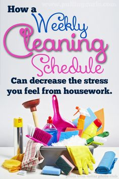 When I had hit my busiest as a wife and mother I realized that weekly cleaning schedule would keep my stress at bay.  It can help you too!  #pullingcurls