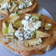 "Apple Goat Cheese Bruschetta | ""If you like sweet and savory, this one is for you. Easy to make and a beautiful presentation."""
