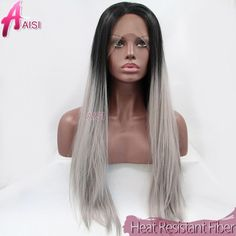 36.21$  Watch more here - http://aiued.worlditems.win/all/product.php?id=32364731026 - Straight Silver Grey Synthetic Lace Front Wig Glueless Ombre Two-Tone Natural Black And Grey Silk Heat Resistant Fake Hair Wigs