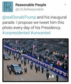 I'm sure this was three hours before the parade. Just like the inaugural photos were three hours before the speech.