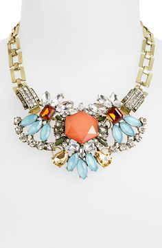 Such a pretty multicolored crystal statement necklace.