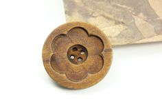 Large Wooden Buttons - Intaglio Carving Big Flower Bloom Brown Color Wooden Buttons, 1.58 inch (6 in a set). $6.00, via Etsy.