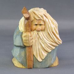 gnome nomad woodcarving hiker shepherd biblical by cjsolberg, $40.00
