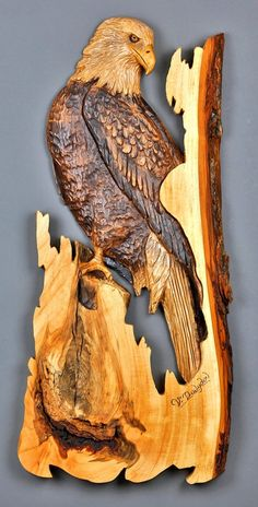Eagle, carving wood, carved by hand, #Wallart #walldecor #uniquegift for cottage, House, wood bark, Vladimir Davydov A wooden sculpture by Cypress