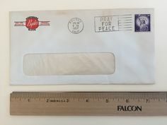 """Item: fc_19570426_1 Advertising cover approx. 3 3/4"""" x 7 ½"""" (window envelope) Condition: very good –  yellowing due to age and minor creases  Byde's Hardware Gifts 1321-1331 Fulton St. Fresno 1, California  Postmark: FRESNO APR 26 8 PM 1957 CALIF. Stamp: 3c Liberty First Class Slogan cancel: Pray for Peace  Back flap: FARM SUPPLIES SPORTING GOODS HARDWARE HOUSEWARES GIFTS APPLIANCES PAINTS Additional Machine cancels"""
