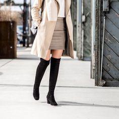 Angesagter Overknee-Stiefel aus feinem Samtleder in Kombination mit elastischem Stretchbesatz. Paul Green, Knee Boots, Shoes, Fashion, Above Knee Boots, Fall Winter, Ladies Shoes, Velvet, Leather