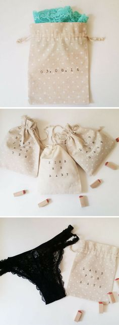DIY Bridal Shower Gift Idea for Bride-to-be. This is such a cute way to store the lingerie together in pouches! The bride can even reuse the pouches!!!