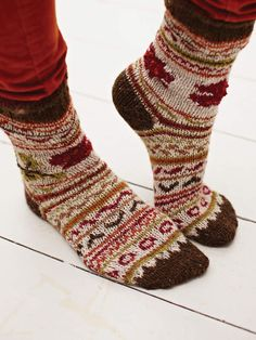 Autumnal fair isle sock #knitting #pattern  instant download