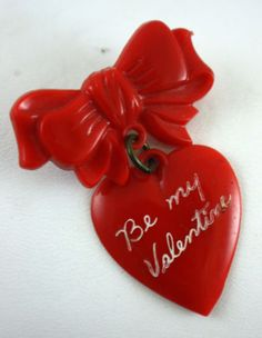 1940's Vintage Red Plastic Novelty Valentine Heart Bow Dangle Pin